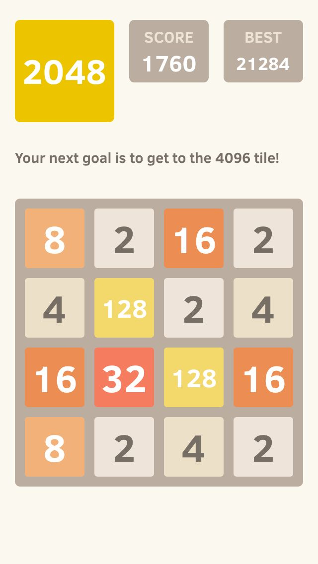 I scored 1760 points at 2048, a game where you join numbers to score high! @2048_game https://itunes.apple.com/app/2048/id840919914