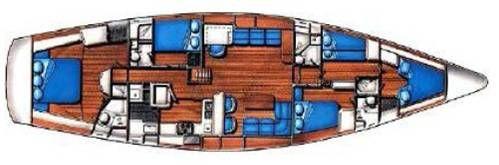 Layout of the Irwin 65' sail-a long holiday Rhodes Greece| Layout van de Irwin 65' mee zeilvakantie Rhodos Griekenland | Sail in Greece Rhodes | sail-in-greece.net