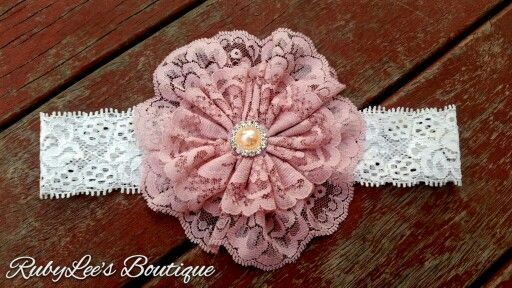 #Pearl #White #Lace #Headband #RubyLee'sBoutique #Birthday #Pincess #LaceFlower #Flower #PhotoProp