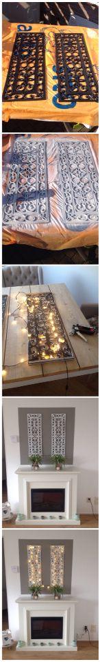 Nieuwe muur decoratie gemaakt. Rubberen deurmat eerst ontvet, toen voorbewerkt met gesso van action, en erna met spuitbus wit gespoten. Kerstverlichting met elektrisch nietpistool erachter gemaakt.