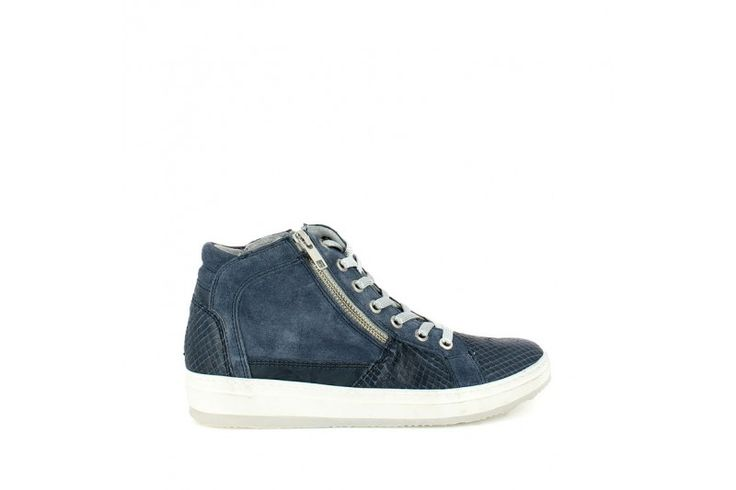 Aspide Oceano   Lace up sneakers in real suede with inserts reptile look. Double side zip, inner removable wedge 4cm high, rubber band 1cm high