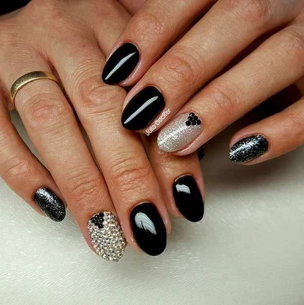 Edgy Black Crystal   Wedding Nail Designs