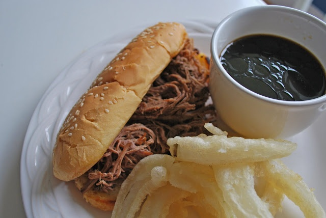 Crockpot French Dip Sandwiches  Review: These were amazing! So easy to make and very very tasty served on wheat buns with swiss cheese. I used light soy sauce and it was still pretty salty so I definitely would use low sodium soy instead of regular
