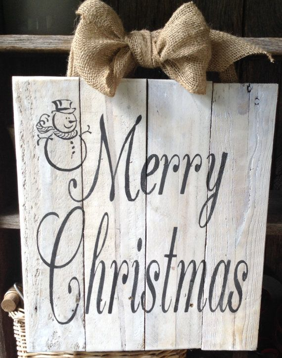 Merry Christmas Snowman Pallet Sign Wooden by RescuedandRepurposed, $50.00
