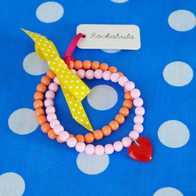 Ribbon Bead Bracelet in Coral and Pink | Rockahula Kids | Sprogs Inc