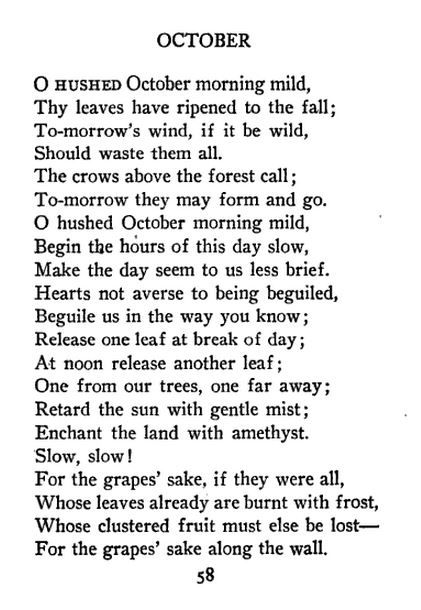 """""""October"""" -- Robert Frost"""