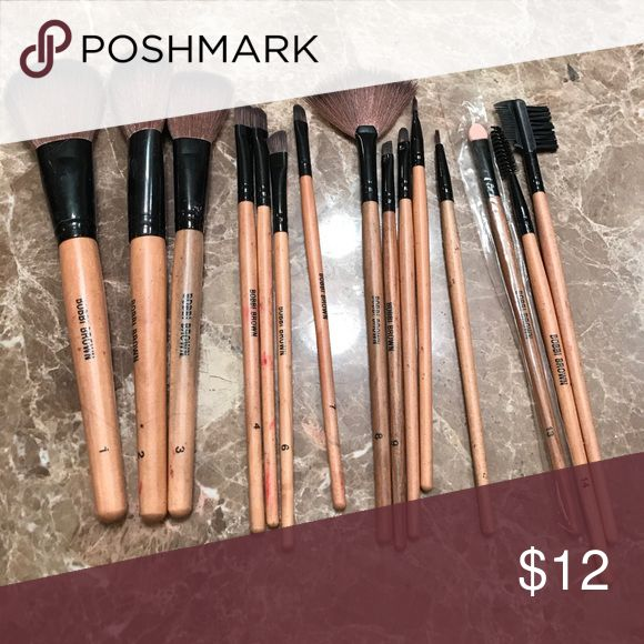 15 piece makeup brush set Slightly used 15 piece makeup brush set. Ordered online. Labeled Bobbi Brown. Unsure if it is the acutal brand. Let than $1 a brush!!! Bobbi Brown Makeup Brushes & Tools
