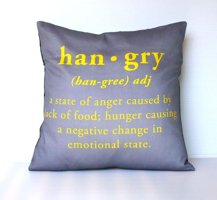 Don't get hangry! via Etsy.: English Language, Food, My Life, Cushions Covers, Grey, Yellow, Decor Pillows, Covers Pillows, English Words
