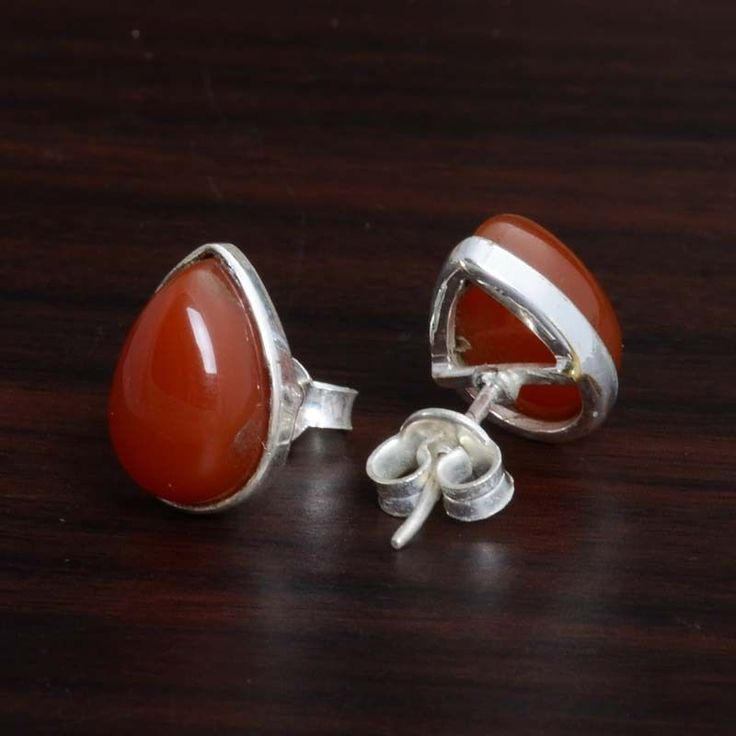 """RED ONYX 925 SOLID STERLING SILVER TOPS EARRING 2.90g DJER4116 L-0.50"""" #Handmade #EARRING"""