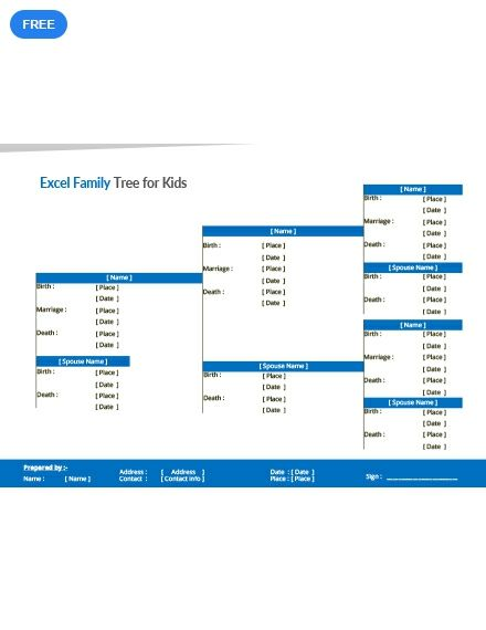 this excel family tree template for kids doesnt include pictures but includes details that are helpful including important dates of family members
