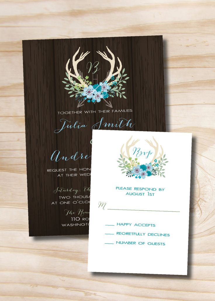 free templates for wedding response cards%0A Rustic Antlers Wooden Background Wedding Invitation and Response Card  Printed Sample Set by PaperHeartCompany on Etsy