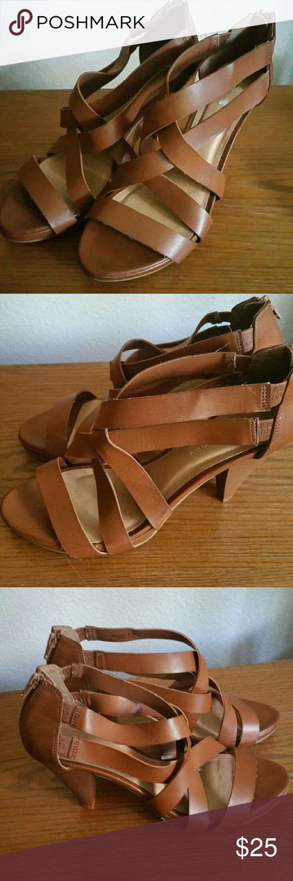 Reduced-Ladies strappy heels Brown strappy heels, never worn.. Add'l pics available upon request.. Shoes Heels