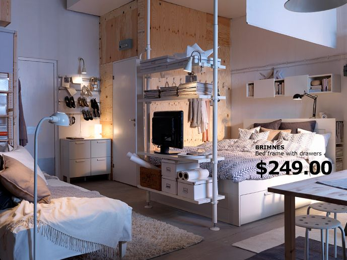 This studio apartment makes me drool. I confess! - via ikea.com