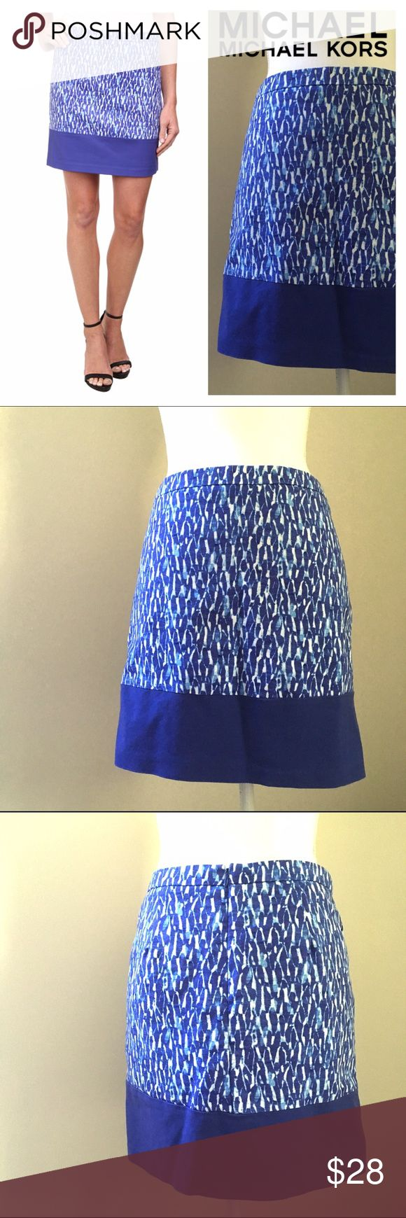 """MICHAEL Michael Kors Print Blocked Mini skirt Blue MICHAEL Michael Kors skirt Print Blocked Mini Royal Blue Lightweight, stretch fabrication with a Mediterranean-inspired print throughout. Fitted waistband. Zip closure at back. Classic A-line silhouette. Straight hemline with color block design. Lined. 98% cotton, 2% elastane; Lining: 97% polyester, 3% spandex.  Machine wash cold, tumble dry low. Measurements: Skirt Length: 16.75""""  Waist Measurement:14.5"""" flat MICHAEL Michael Kors Skirts…"""