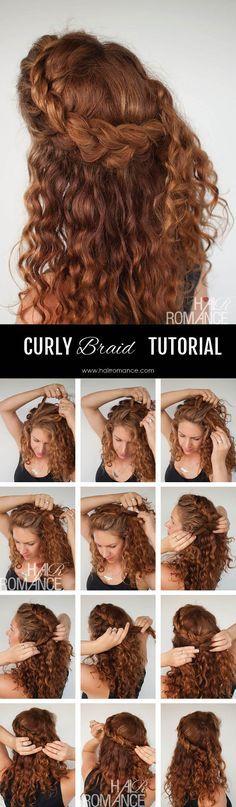 Hair Romance - Curly hair tutorial - half up braid hairstyle tutorial Tutorial para peinados en cabello crespo