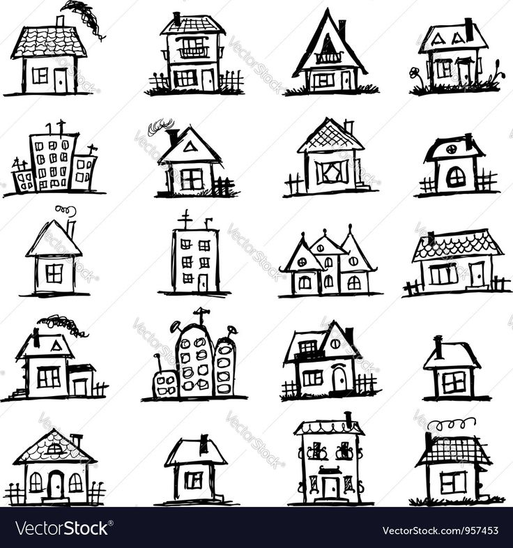 Vector image of Sketch of art houses for your design Vector Image, includes tree, black, design, drawing & sketch. Illustrator (.ai), EPS, PDF and JPG image formats.