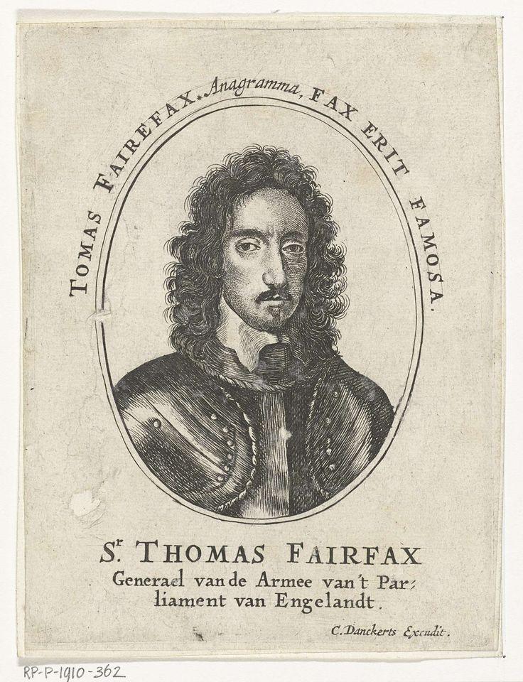 Cornelis Danckerts (I) | Portret van Sir Thomas Fairfax, Cornelis Danckerts (I), 1613 - 1656 | Portret van Sir Thomas Fairfax, borststuk gekleed in harnas in ovaal. Boven ovaal kader anagram met letters van zijn naam.