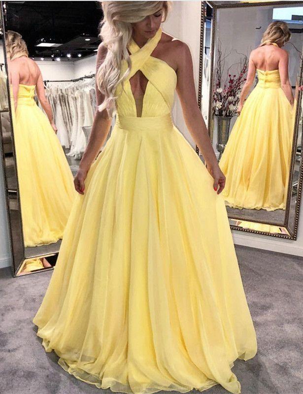 Customized Light Prom Dresses Yellow High Neck Backless Yellow Long ... 92b954eafa70