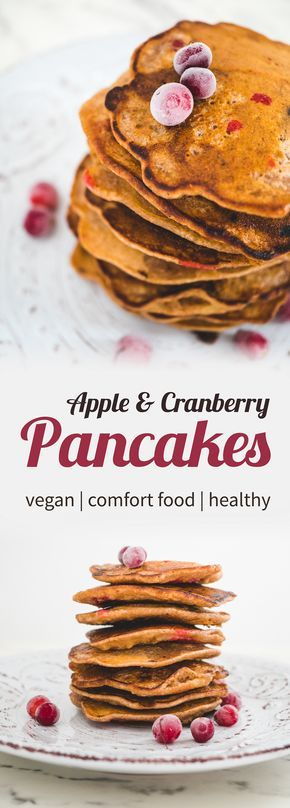 Vegan apple & cranberry pancakes with maple syrup.