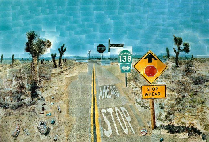 Pearblossom Highway, 1986 photographic collage. É uma interpretação única da sua viagem por uma estrada perigosa da Califórnia a via 138. A obra não só consiste na perspectiva do condutor, mas também na  perspectiva do passageiro.