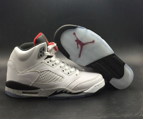 9bee78045a4 Genuine Air Jordan 5 White Cement White University Red-Black-Metallic  Silver - Mysecretshoes