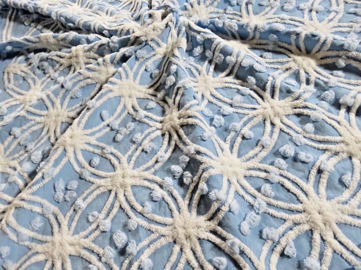 Chambray MORGAN JONES Plump Pops & Rings Vtg Chenille Bedspread Fabric Piece #3