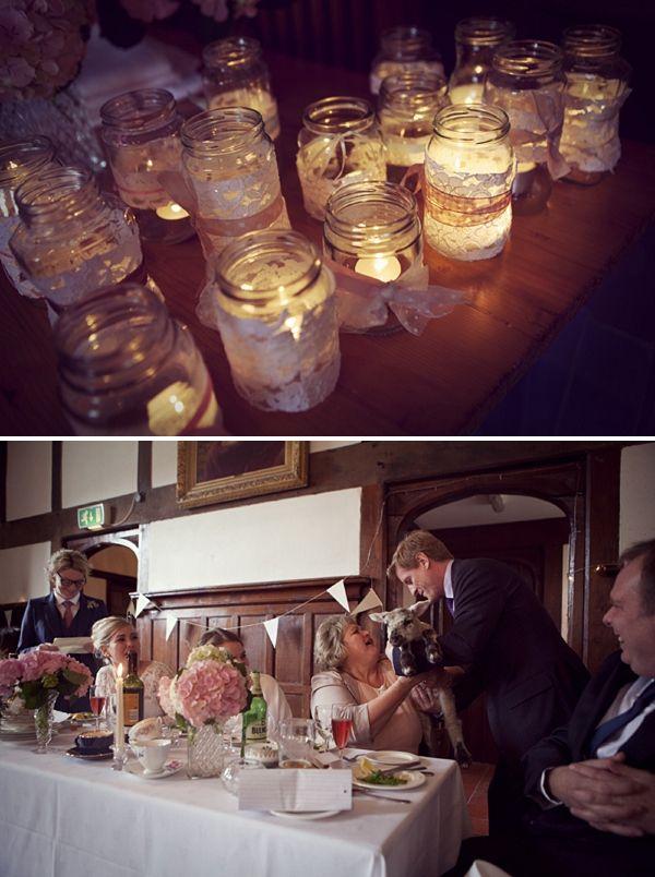Beautiful homemade wedding, LOVE the lace wrapped mason jars.