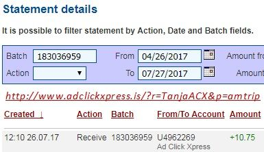 Here is my #16 Withdrawal Proof from Ad Click Xpress.  I get paid daily and I can withdraw daily. Online income is possible with ACX, who is definitely paying - no scam here. I WORK FROM HOME less than 10 minutes and I manage to cover my LOW SALARY INCOME. If you are a PASSIVE INCOME SEEKER, then AdClickXpress (Ad Click Xpress) is the best ONLINE OPPORTUNITY for you. Join for FREE and get 10$ for Tripler value packs from ACX . Make 2% Per Day - Easy!