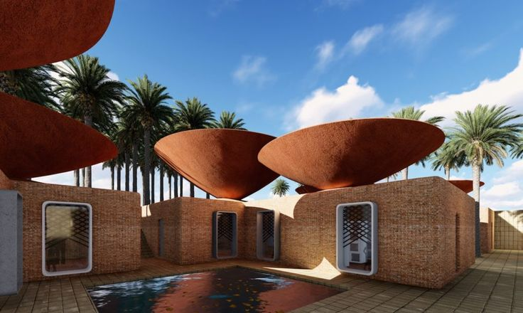 BMDesign Studios designed the Concave Roof, a double-roof system designed to collect and store rainwater, and promote natural cooling.