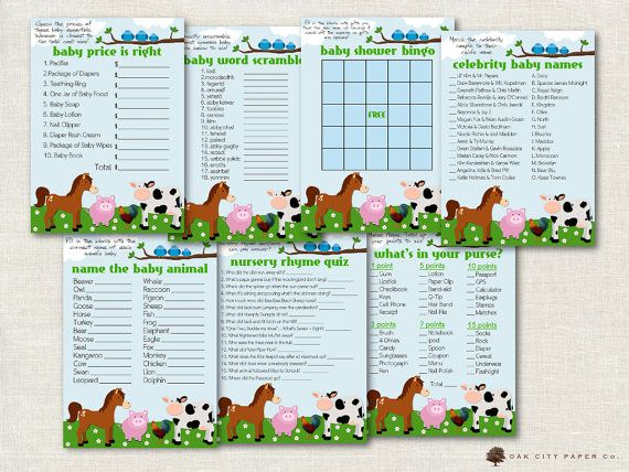 Farm Animal Baby Shower Games Barnyard by OakCityPaperCompany