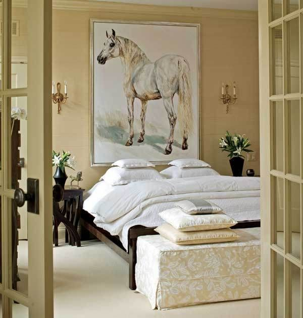 Bedroom With French Doors Horse Painting Art Neutral Colors Natural Decor Ideas Home Decorating In 2018 Pinterest And