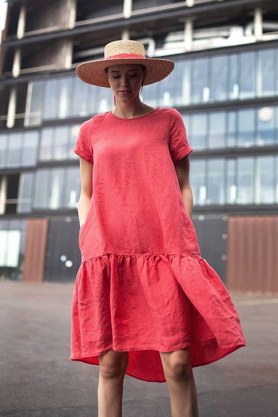 Linen raspberry dress
