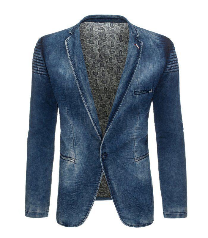 Pánske modré džínsové sako