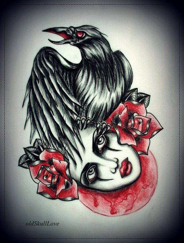 tattoo designs by mariola weiss lady roses and the crow. Black Bedroom Furniture Sets. Home Design Ideas