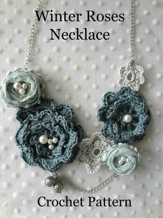 Crochet invierno rosas collar PDF patrón - irlandés rosas, collar de ganchillo, ganchillo patrón, patrón digital, collar de mori, romántico, bohemio