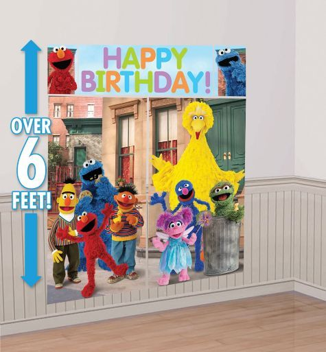 Sesame Street Scene Setter - Party City.  This one is also nice in that small space. And can be used as photobooth for the kids;-)