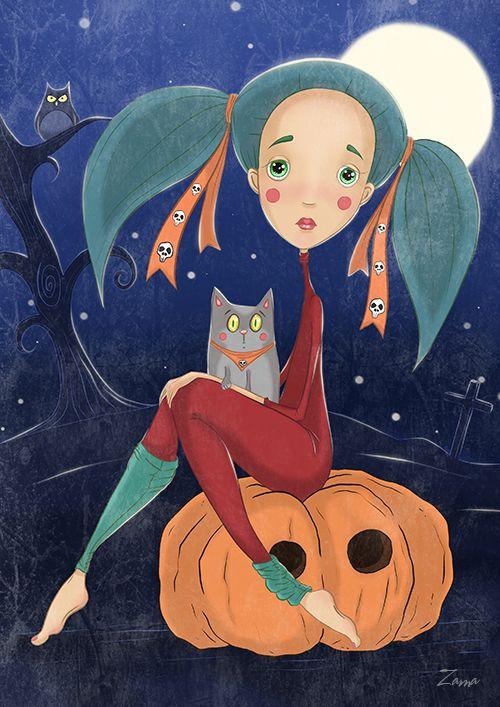 Zama Art on Behance #zama #zamart #illustration #cute #procreate #ipencil #art #illustrations #halloween