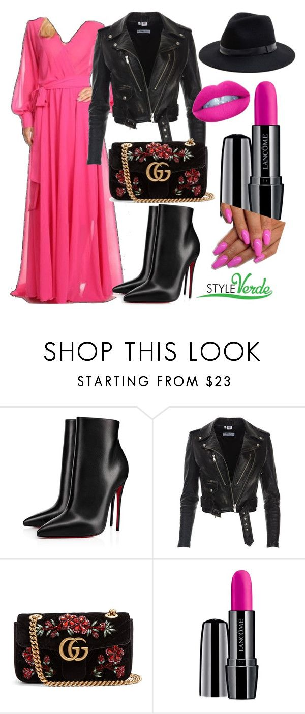 """Motos and Maxis"" by cagreinvented on Polyvore featuring Christian Louboutin, Gucci, Lancôme and Sole Society"