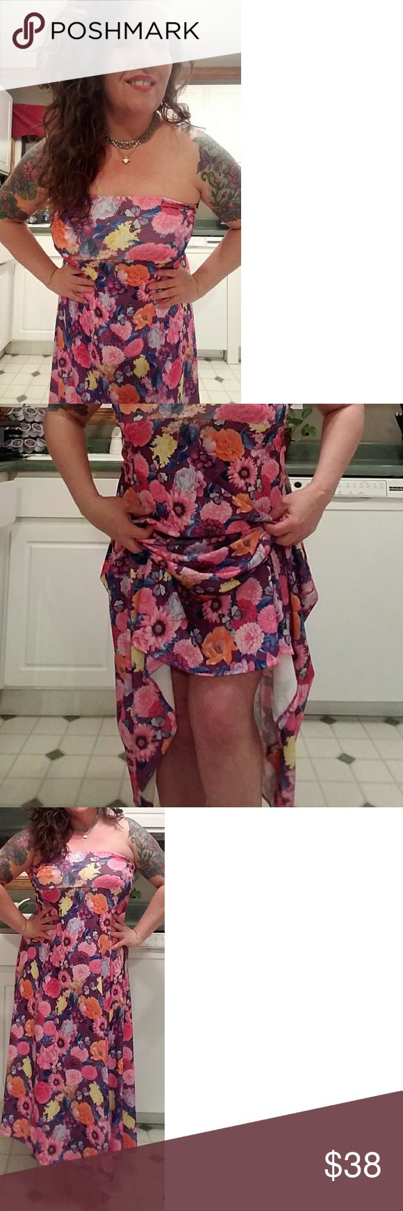"""Gorgeous LULAROE Maxi Skirt/Dress MINT condition, worn once! This maxi skirt with signature LLR comfy wide waistband DOUBLES as a fantastic tube dress! (I am almost 5'2"""" for reference sake). Really pretty bright summer colors with a floral and butterfly pattern. SOOO pretty but I just don't wear it with all my other LLR . LuLaRoe Skirts Maxi"""