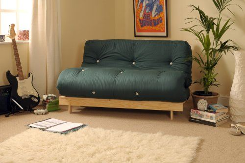 4ft Small Double 120cm Wooden Futon Set with GLADE GREEN Mattress