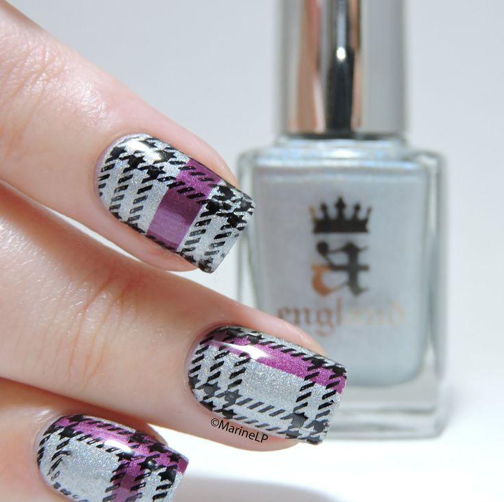 Nailstorming - Tartan - Stamping - Plaid nails - A England Encore Margot