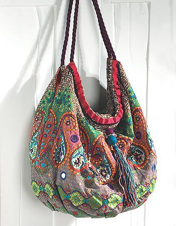 Paisley printed and embroidered shoulder bag. Beautifully designed paisley 100% cotton bag, embellished with embroidery, beads and mirrors