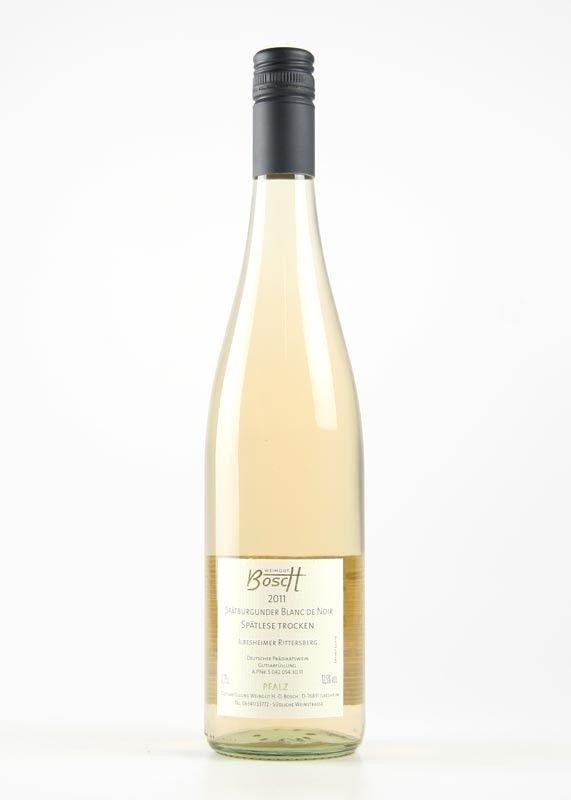 """Bosch, Ilbesheim - Spätburgunder Blanc de Noir Spätlese """"Ilbesheimer Rittersberg"""" trocken  https://www.vinothekum.de   Der Wein wird aus einer roten Traube gewonnen und ein weißer Wein hergestellt. Der Wein"""