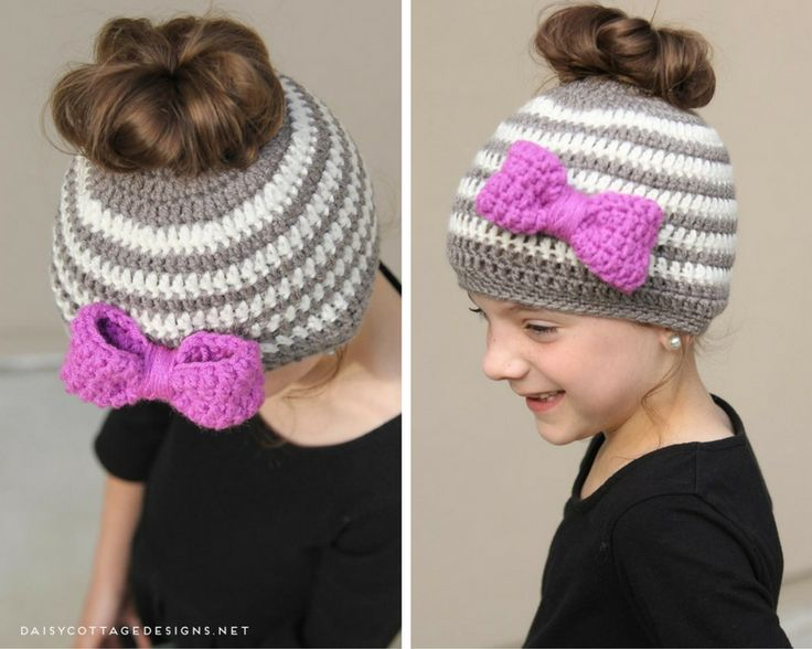 Learn how to make this adorable messy bun hat crochet pattern for kids! It's quick and easy, and will be sure to put a smile on any little girl's face!