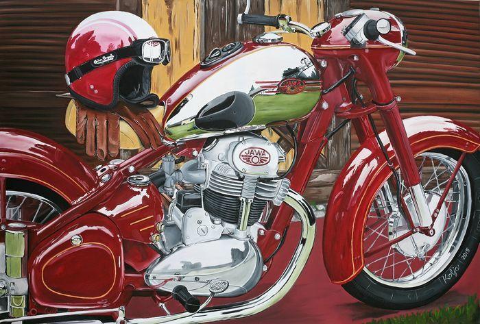 Catawiki online auction house: Jawa 500 ohc - Canvas 120x80cm