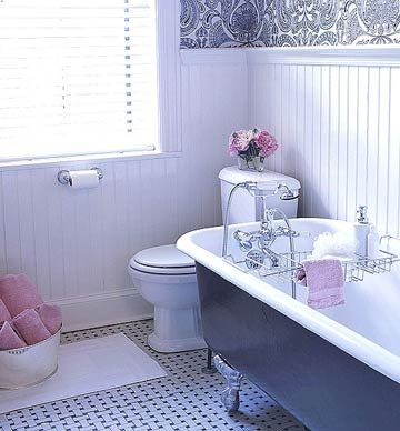 Woven-Look Bathroom FloorWoven-Look Bathroom Floor  Use a classic, simple floor pattern to add texture to a vintage bathroom. This playful pattern gives the illusion of depth