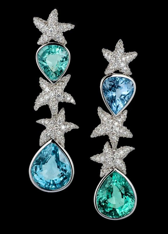 Lydia Courteille Paraiba and Diamond Starfish Earrings