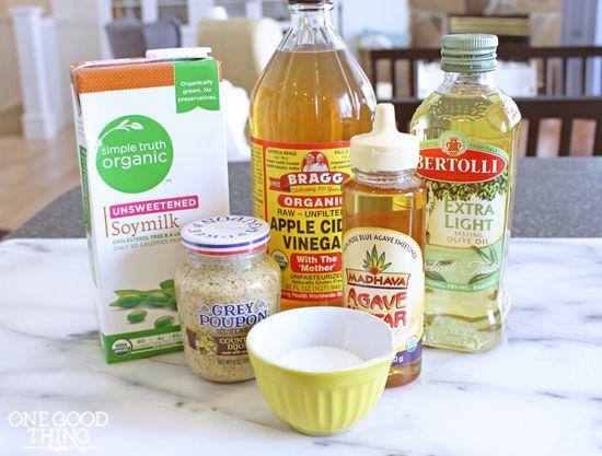 Homemade Vegan Mayo:  ½ C unsweetened soy milk 2 tsp ACV ½ tsp kosher salt ½ tsp agave nectar ¼ tsp ground mustard 1 C light olive oil