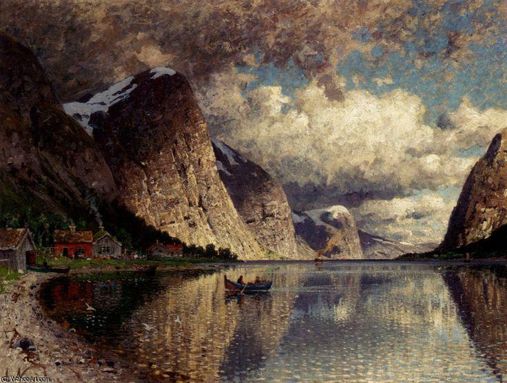 Un jour clody sur un fjord de Adelsteen Normann (1848-1918, Norway)