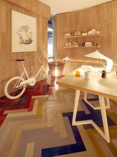 Colorful Herringbone Floor.